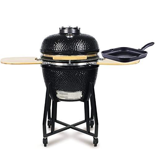 WUMDOO Style'n Cook Røg Kamado Holzkohlegrill rund, schwarz aus Gusseisen | massiver & Stabiler Grill + Style'n Cook C997128 Grande Grillpfanne Induktion Aluguss | Set