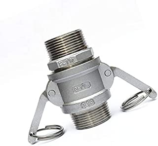 DP-iot 1 26mm OD Hose Tail Barb x 37mm ID Camlock 304 Stainless Steel C Type Socket Cam Lock Fitting Pump Adapter Cam Groove Coupling