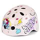 Kids Bicycle Helmets, LX LERMX Kids Bike Helmet Ages 3-8 Adjustable from Toddler to Kids Size, Durable Kids Bike Helmet with Fun Designs for Boys and Girls(Pink)