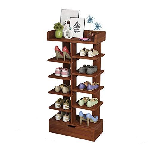 Jianghuayunchuanri Zapatero de madera para entrada de 7 pisos, zapatero para cocina, sala de estar, armario, encuentra fácilmente tus propios zapatos (color: café, tamaño: 40 x 21 x 92 cm)