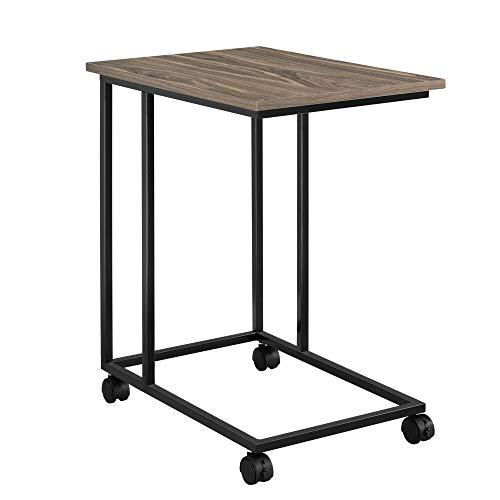 [en.casa] Couchtisch mit Rollen in Walnuss-Optik Tisch Beistelltisch Rollbar 50x35x60cm Wohnzimmertisch Sofatisch Rolltisch