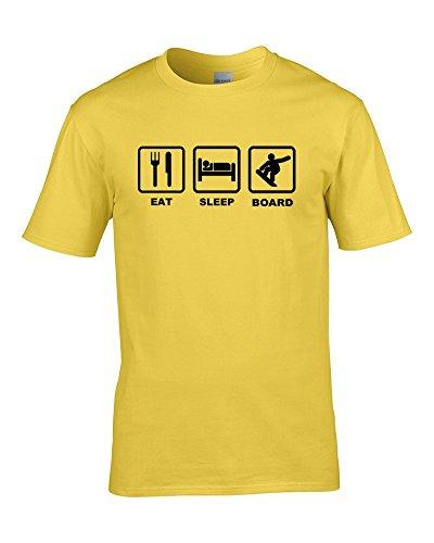 Ice-Tees Herren T-Shirt EAT Sleep Board Extreme Sports Ski Slope Fanatic Gr. L, gelb