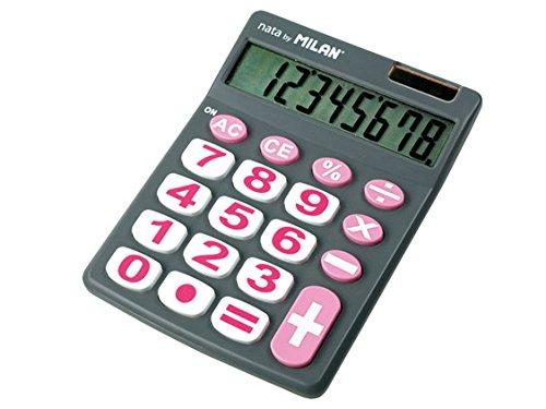 ミラン 8桁電卓 ビッグキー 151708GBL グレー×ピンク