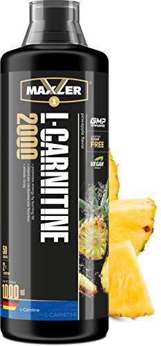 Maxler L Carnitin Liquid Hochdosiert - L Carnitin Flüssig - Vegan und Zuckerfrei - reich an Geschmack - optimal dosiert - 2000 mg von L-Carnitin pro Portion - Ananas - 1000ml