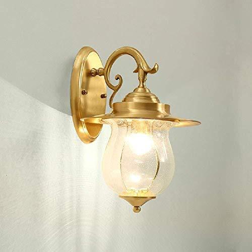 LEIKAS Lámpara Pared Cristal Transparente Cobre Industrial Retro Vintage Lámpara Pared Cobre Decorativa Creativa E27 Pasillo Pasillo Escalera Dormitorio Lámpara Noche Aplique Pared