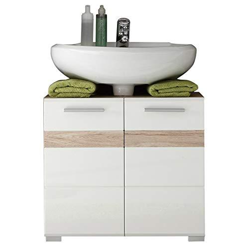 trendteam smart living Badezimmer Waschbeckenunterschrank Unterschrank Set One, 60 x 56 x 34 cm in Korpus Eiche San Remo Hell (Nb.)