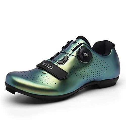 Zapatillas de ciclismo para mujer para hombre MTB Road SPD Bike Shoestring con compatible SPD Look Delta Cycle Riding Cleats Peloton Zapatos, color, talla 42 1/3 EU