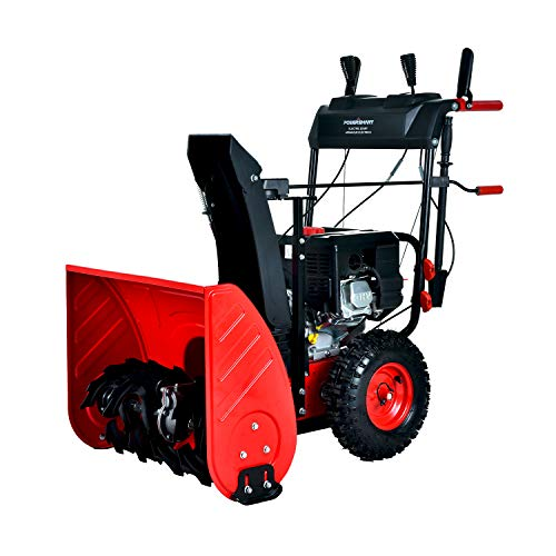PowerSmart Snow Blower, PSSAM24 24-inch 212cc 2-Stage Electric Start Gas Snow Blower, Color Red and...