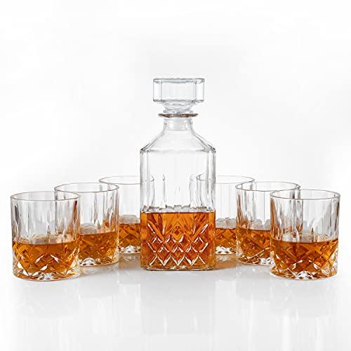 Whiskey karaf en 6 whiskyglazen set in geschenkdoos – originele kristallen drank karaf set voor Bourbon, Scotch, Wodka