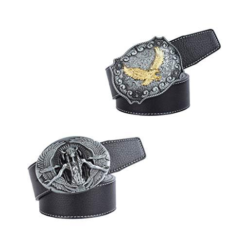 LOVIVER 2er pack Ledergürtel mit Adler Kopf muster Schnalle Damen Mode Kleidung Schmuck Zubehör