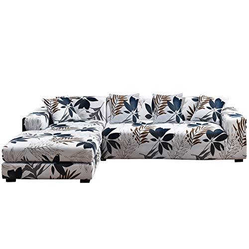 SHANNA Fundas de sofá elásticas, antideslizantes, juego de 2 unidades de 3 plazas + 3 plazas para sofá en forma de L, funda de sofá con 4 piezas de funda de almohada - Hoja de arce