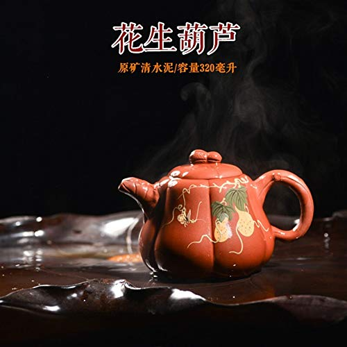 Gift Teapot Tea cup Clear Cement Maker Mud Peanuts Gourd Painted Teapot CRTTRC Teapot (Color : Purple mud)