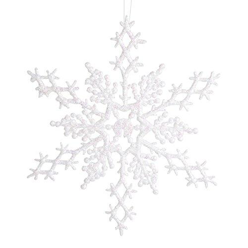 Darice 1619-63 6-Piece Snowflake Ornament, 6.5-Inch, Pearlized