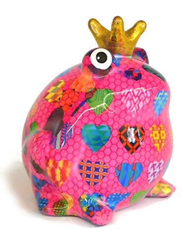Pomme Pidou Spardose Frosch Froschkönig Basic pink mit Herzen 15x17 cm Sparbüchse Geldgeschenk