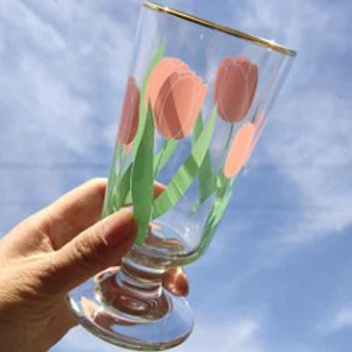 YUNLILI Mode 280ml Ins-Stil-Weinlese-Gänseblümchen & TulpeWhiskey-Tassen, Wodka-Glasschale, Mehrzweck-Retro-Becher, Phnom-Penn-Glas, kurzbeiniges Weinglas (Color : Tulip, Size : 280ML)