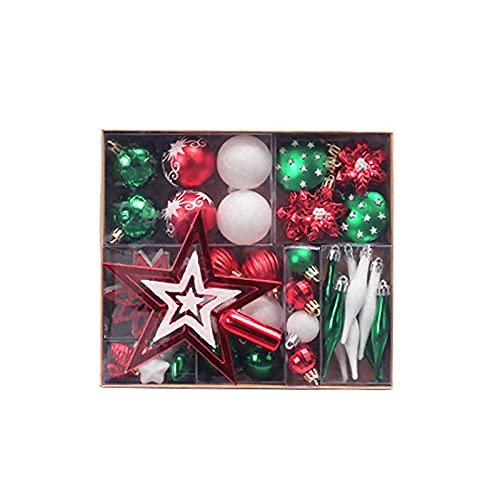 Juego de 58 bolas de Navidad decorativas de larga duración festiva para colgar adornos de fiesta para fiestas - 4