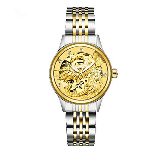 YiLuFanHua Reloj De Mujer Reloj Mecánico De Acero Inoxidable Luminoso Deportes Recreativos Impermeable Y Resistente A Los Arañazos,Kitty Silver Gold