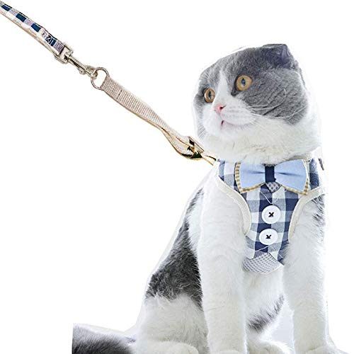 Juan Wen Katzengeschirr für Katzen, Geschirr und Katzenleine gegen Wegfall, verstellbare Jacke für Katzen mit klassischem Karomuster