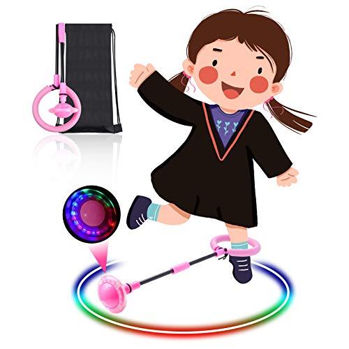 Diealles Shine Kinder Blinkender Springring, Knöchelsprungball Glühender Springender Ball Blinkender Sprungball Fettverbrennungsspiel für Kinder (Rosa)
