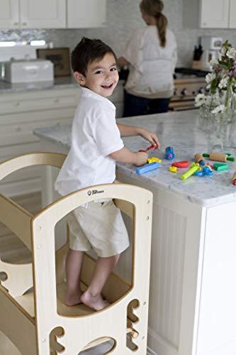 Little Partners Niños torre de aprendizaje para niños ayudante de la cocina de altura ajustable taburete de paso, marco de madera, Contador Natural