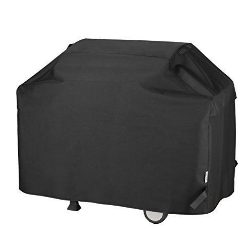 Unicook BBQ Cover, Heavy Duty Waterproof Outdoor Barbecue Grill Cover, Anti-UV Oxford Fabric, All Weather Resistant, Fits Weber Char Broil Outback Barbecues and More, 165 x 61 x 112 cm, Black