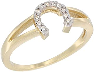 14K Yellow Gold Ladies Diamond Horseshoe Ring, 1/4 inch wide, sizes 5 to 10