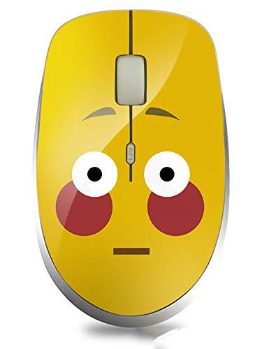 Silencioso Emoticon inalámbrico Ratón Oficina Ratones creativos Regalo Rata Diseño ergonómico Micro Receptor de 2.4 GHz Computadora de Escritorio portátil 4 Botones 1000 dpi Compatible con Window