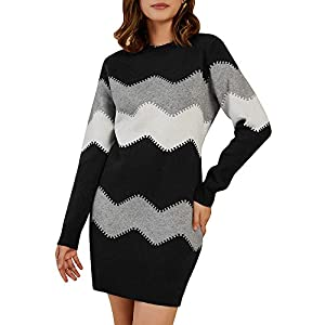 Women's Striped Mini Bodycon Sweater Dress Long Sleeve Knitting Pullover