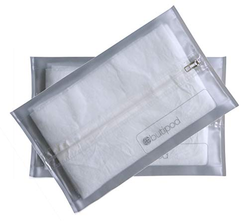 Buti-pods Zippered Refillable Wet Wipes Case, 2 Pack, Translucent