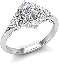 White Gold Vintage Halo Engagement Ring Filigree Scroll Art Deco Ring Unique Halo Ring Forever One Colorless Moissanite Center Ring For Her