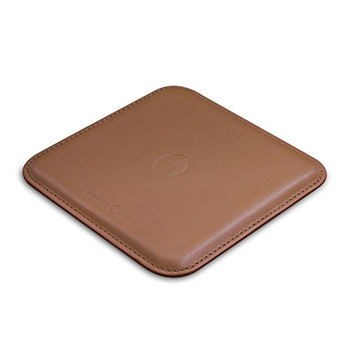 Eggtronic Pad di Ricarica Wireless Fast Charge in Vera Pelle (Marrone)