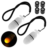 SecurityIng 2Pc Underwater Strobe Signal Light Scuba Night Dive Marker LED Flashy Safety Lamp Firefly Diving Beacon Beam 200M Underwater 200 Hour Duration with Battery (Yellow)