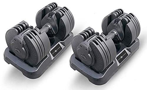 Set di Manubri Regolabili RPM Power (20kg per Manubrio) con Tecnologia Brevettata Handle-Twist ™ - 16 Diverse Possibili Combinazioni di Pesi (Include 2 x Manubri 20kg)