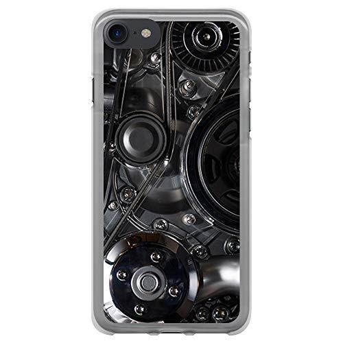 BJJ SHOP Custodia Trasparente per [ iPhone 7 / iPhone 8 ], Cover in Silicone Flessibile TPU, Design: Meccanico, Motore, pulegge, distribuzione