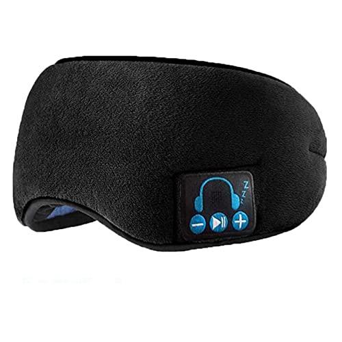 Schlafkopfhörer Bluetooth, Drahtlose Bluetooth-Headset-Augenmaske, Musik- Schlafhilfe Und Anti-Lärm, Atmungsaktiver Schlaf-Schirm-Augenschutz (Color : Black)