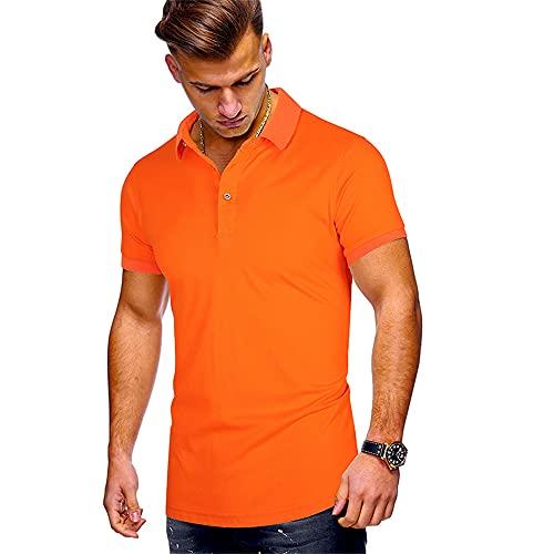 Henley Camisa Hombre Moderno Urbano Verano Básico Botón Placket Hombre Polo Shirt Simplicidad Moda Color Sólido Manga Corta Deportiva Camisa Wicking Transpirable Hombre Shirt I-Orange L