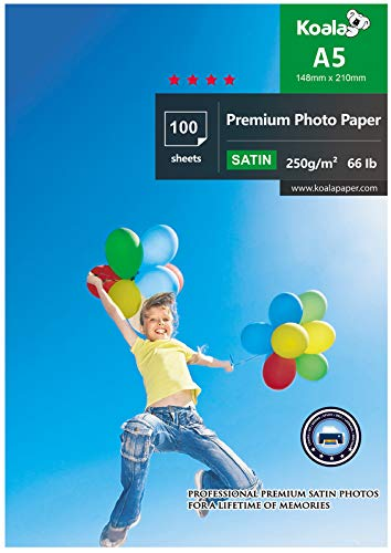 KOALA Papier photo Satiné A5, 250g/m², 100 feuilles avec couche de résine avancée satinée de qualité supérieure pour imprimante à jet d'encre Canon Hp Epson