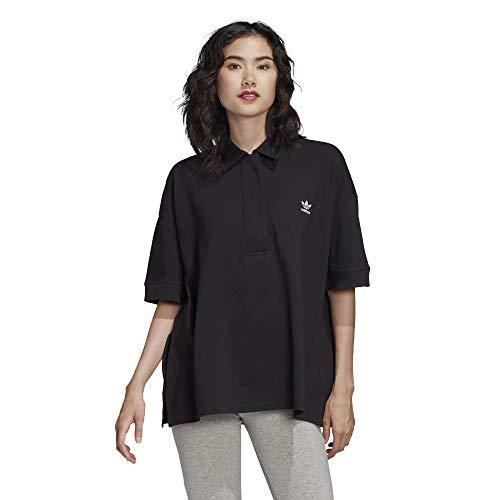 adidas Damen Oversized Polo Shirt, Black/White, 40