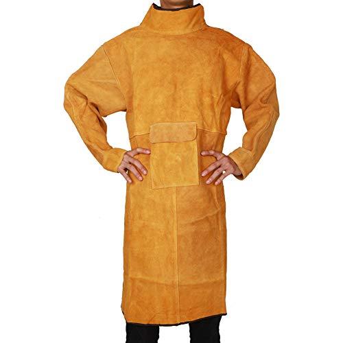 QEES Schürzen Schweißschürze aus Büfelleder Lang Schutzbekleidung Sicherheitstechnik Arbeitsschutzausrüstung HYWQ23-XL