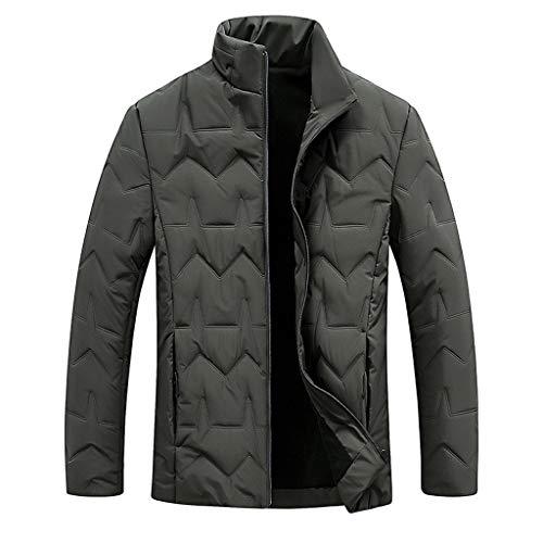 Plot Herren Winterjacke Warm Winterparka Stepp Jacke Einfarbig Bomberjacke Winter Business Jacken Leichte Stehkragen Outwear Coat Mantel
