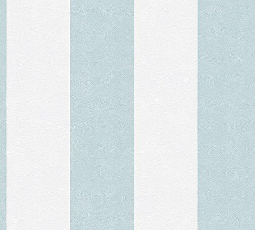 A.S. Création Vliestapete Memory Tapete mit Blockstreifen 10,05 m x 0,53 m blau creme Made in Germany 329901 32990-1