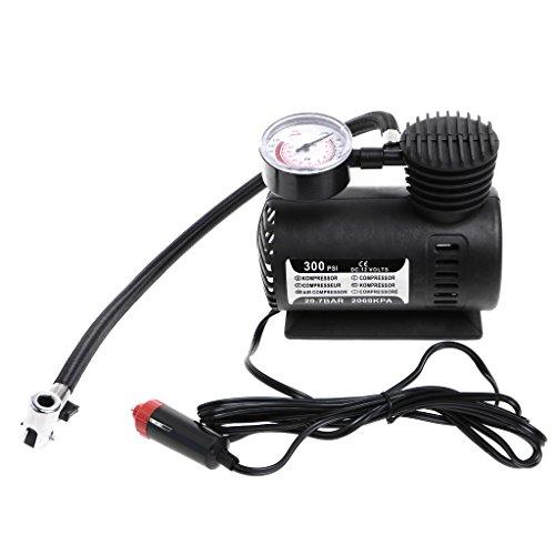 FlowerPEI - Mini compresor de aire portátil multifuncional de 300 PSI 12 V bomba infladora eléctrica con manómetro para neumáticos de coche, motocicleta, bicicleta, juguetes inflables