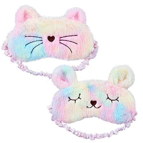 Kesote 2x Schlafmaske Hase Augenklappe Katze Augenabdeckung Augenblende, Bunt