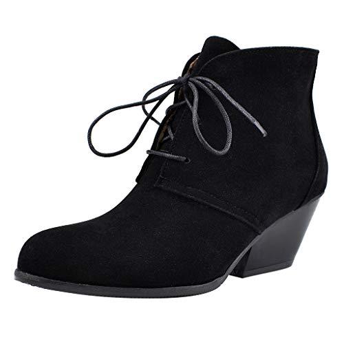 LILIGOD Damen Elegant Stiefeletten mit Blockabsatz Herde Schnüren Kurze Stiefel Einfarbig Mode...