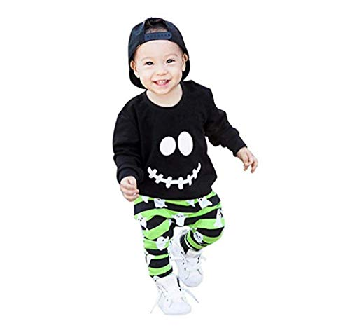Toddler Baby Boy Halloween Outfit Short Long Sleeve T-Shirt Tops and Long Skull Pants Leggings Clothes Set (0-1Y, Black)