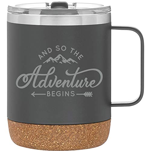 MugHeads And So The Adventure Begins Mug - Congratulations Gifts for Men - Retirement Gifts for Women - 12oz Powder Coated Cork Bottom Double Wall Stainless Vacuum Insulated Travel Mug (Matte Slate)