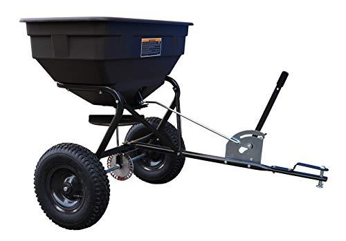 TEXAS 90053036 Streuwagen Anhänger für Texas Rasenmähtraktoren (200 cm Arbeitsbreite, 60 Liter Fassungsvermögen, Geeignet für Samen, Dünger und Salz)