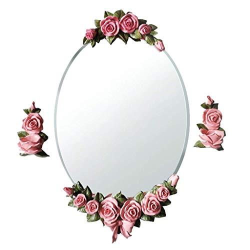 DERUKK-TY Espejo para el hogar y maquillaje con espejo montado en la pared, hermoso espejo para colgar en la pared, fácil de limpiar para niñas (color: rosa) (color: blanco)