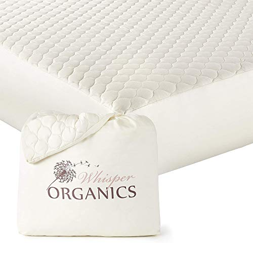 """Whisper Organics, 100% Organic Mattress Protector - Quilted Fitted Mattress Pad Cover, GOTS Certified Breathable Mattress Protector - Ivory Color, 17"""" Deep Pocket (Queen Size Bed)"""