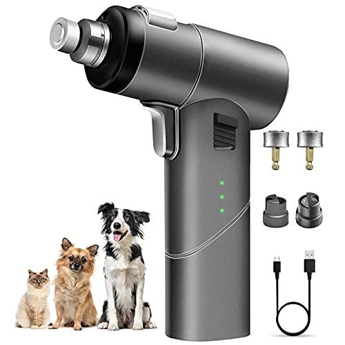 HAZIDA Verbesserte krallenschleifer für Hunde, professionelle elektrische LED-Nagelfeile für Haustiere, wiederaufladbare, geräuscharme 3-Gang-Hundenageltrimmer Leistungsstarke schmerzfreie Pfoten